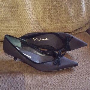 Party Fancy Kitten Heels Black Formal Shoes